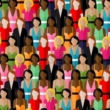 Illustration pour Grand groupe de filles et de femmes. illustration plate de la communauté féminine . - image libre de droit