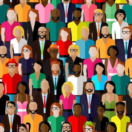 Photo pour Modèle sans couture vectoriel avec un grand groupe d'hommes et de femmes. illustration plate des membres de la société - image libre de droit