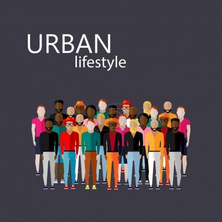 Illustration pour Illustration vectorielle plate de la communauté masculine avec un grand groupe de gars et d'hommes. concept de style de vie urbain - image libre de droit