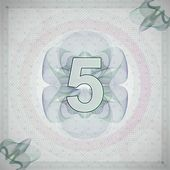 Vector illustration of number 5 (five) in guilloche ornate style monetary banknote background