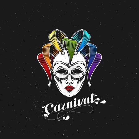 vector illustration of engraving rainbow carnival mask emblem and ornate lettering logo. Masquerade symbol