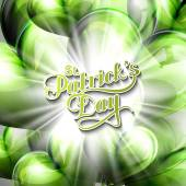 vector typographical illustration of handwritten Saint Patricks Day label on the holiday background of flying green balloon hearts and shiny burst or explosion  holiday lettering composition