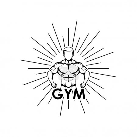 Vector illustration of muscled man body silhouette and burst. fitness or bodybuilding gym logo concept