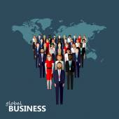 flat illustration of leader and team group of business people