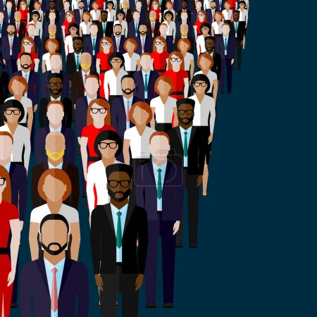 Illustration for Vector flat illustration of business or politics community. a large group of men and women business community or politicians wearing suits, ties and dresses - Royalty Free Image