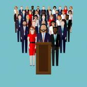 Vector flat  illustration of a speaker, party candidate or leader