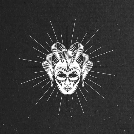 Illustration for Vector illustration of engraving venetian carnival mask or jester emblem and light rays on black cardboard texture. carnival symbol - Royalty Free Image