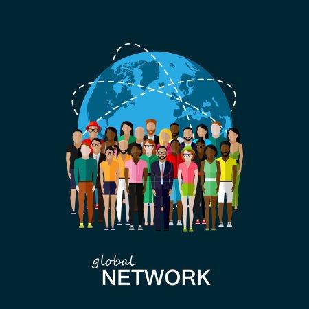 Illustration plate des membres de la société avec un grand groupe de personnes