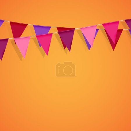 Vector festive illustration of bunting flags. deco...