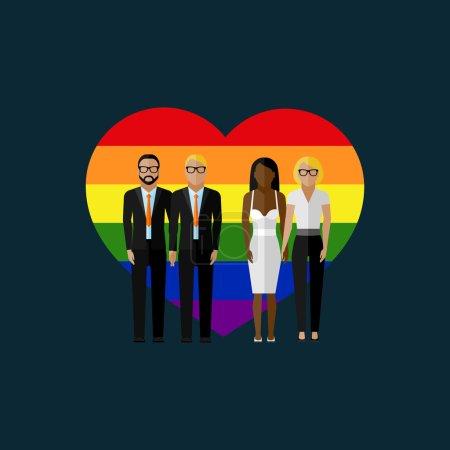 Gay marriage vector flat illustration.