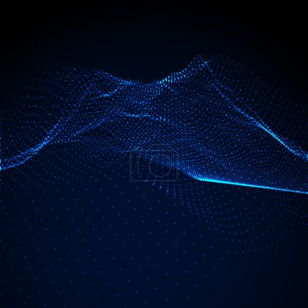 Illustration for 3D illuminated abstract digital wave of glowing particles and wireframe. Futuristic vector illustration. HUD element. Technology concept. Abstract background - Royalty Free Image