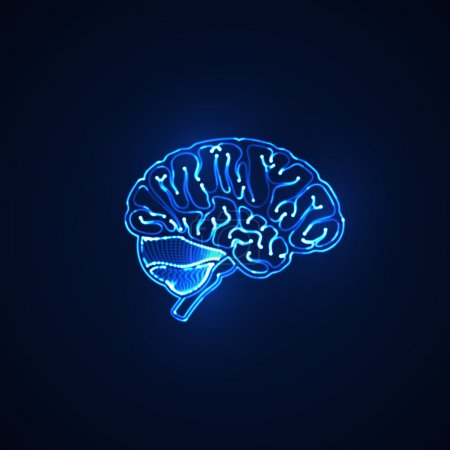 Illustration for Vector science illustration of human brain. neon sign. artificial intelligence concept - Royalty Free Image