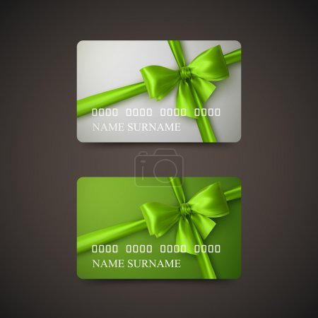 Illustration for Gift Cards With Green Bow And Ribbon. Vector Illustration. Gift Or Credit Card Design Template - Royalty Free Image