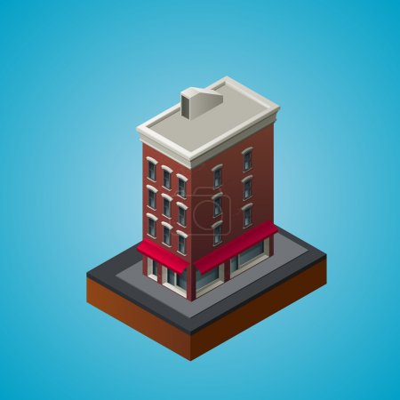 Illustration for Isometric 3d residential building. Vector illustration - Royalty Free Image
