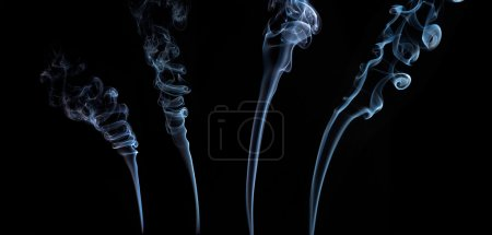Colorful smoke collection on black background