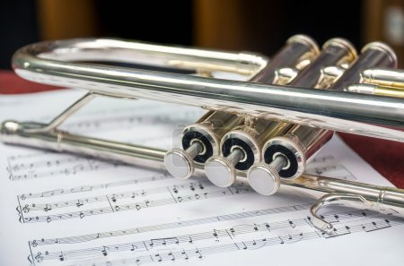 Photo for Closeup the trumpet on music melody - Royalty Free Image