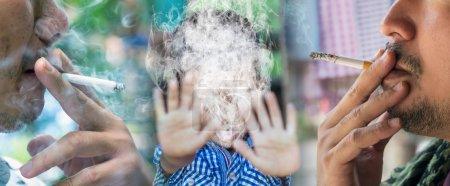 Photo pour Garçon non fumeur avec le monde des adultes, la journée sans tabac - image libre de droit