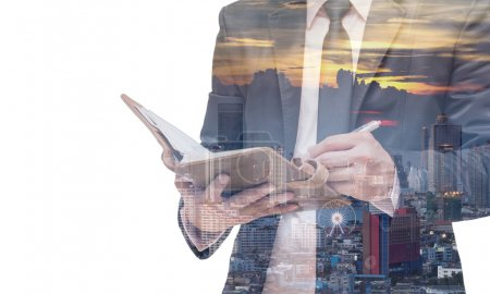 businessman with cityscape background