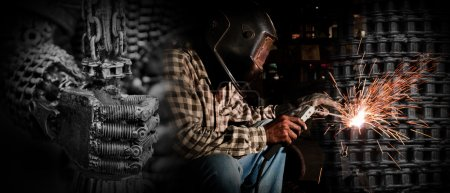welder in helmet at work