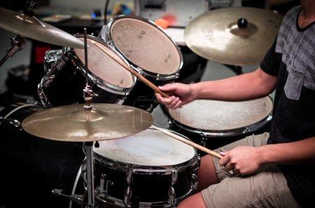 Male drummer in studio
