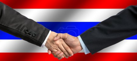 Businessmen Handshake on Thailand flag