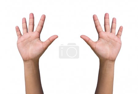Hands forming raise and agree on white background