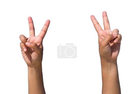 Photo pour Mains formant numéro 2 sur fond blanc - image libre de droit