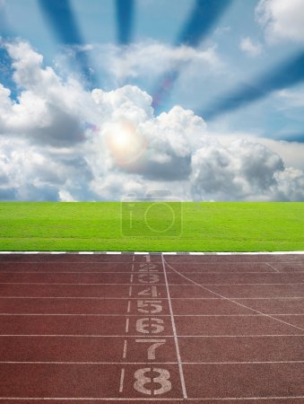 Race track for sport with blue sky and cloud