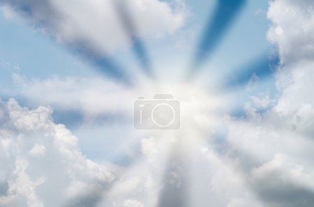 blue sky with cloud and sun ray