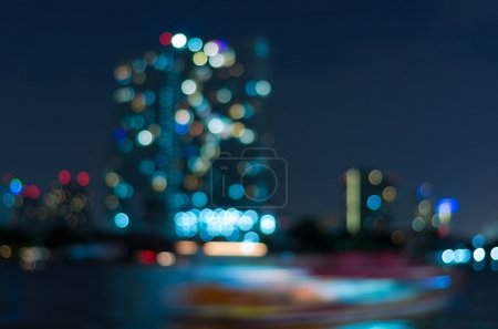Photo for Bangkok cityscape river view at twilight time, Blurred Photo bokeh - Royalty Free Image
