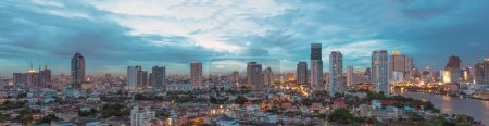 panorama of Bangkok cityscape Modern building at twilight time,T