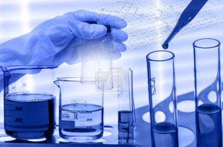Chemical Laboratory,scientist dropping the reagent into test fla