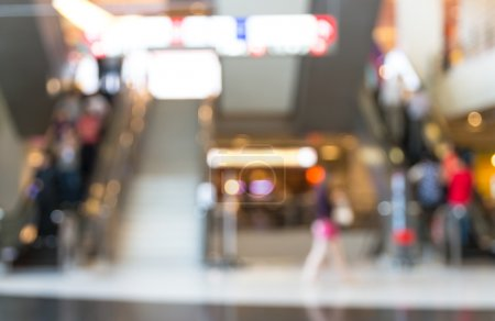 store and escalator blur with bokeh background