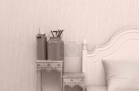Photo for Closeup decorate paint brush in Luxury Interior bedroom - Royalty Free Image