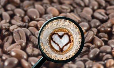 magnifying glass with background of roasted coffee beans to be coffee cup with heart shape, food and drink with business concept