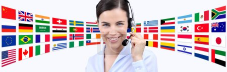 Photo for Contact us, customer service operator woman with headset smiling isolated on international flags background - Royalty Free Image