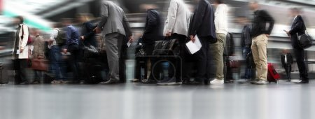 Photo for People waiting in line, travellers in queue - Royalty Free Image