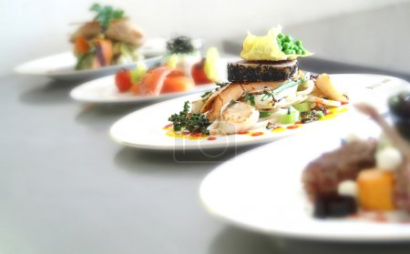 Photo for Plated meals ready for service - Royalty Free Image