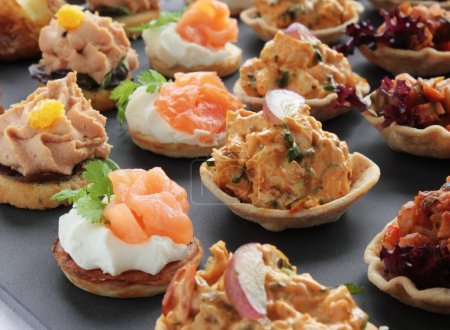 Photo for Antipasti Canapes selection platter - Royalty Free Image