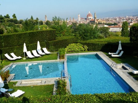 Swimming pool with the landscape of Florence, Italy
