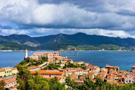 Photo for Panorama of the Forte Stella and the Lighthouse in Portoferraio town, city of tourism and culture of the Island of Elba - Royalty Free Image