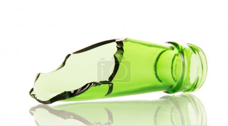 The neck of  broken glass bottle isolated on white background.