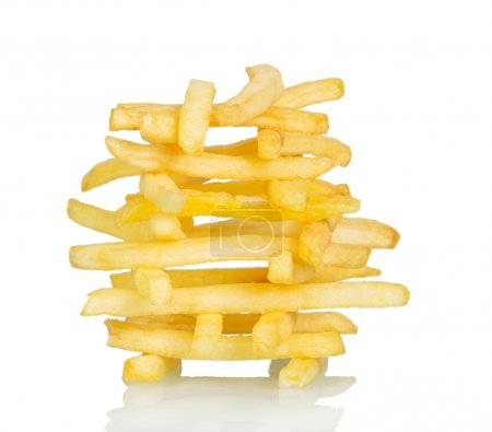 Crispy French fries isolated on white.