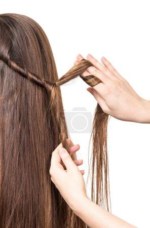 Salon de coiffure tresses africaines cheveux longue ligne droite brun isolé sur blanc