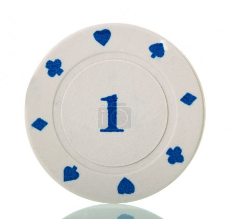 White poker chip close-up isolated on white.