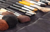 Set  professional cosmetic brushes for make-up background.