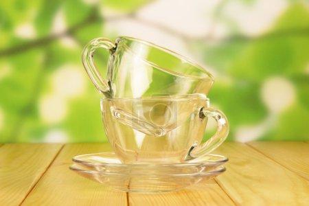 Empty glass cups