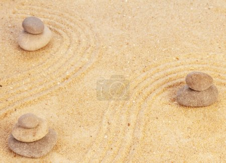 Zen mindset concept on sand