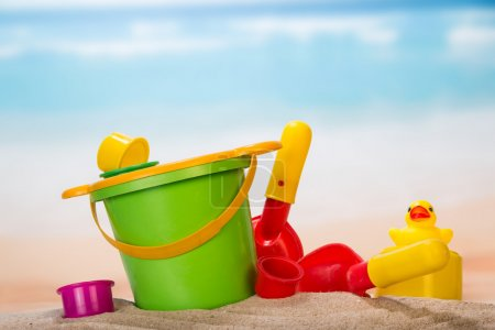 Set of toys in the sand