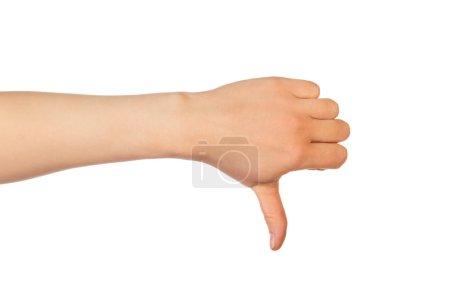 Thumb down hand sign